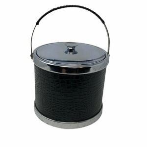 Black Vtg 1970s Metal Black Embossed Ice Bucket